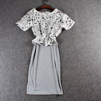Casual Gray Floral Mesh Elastic Top With Gray Midi Skirt
