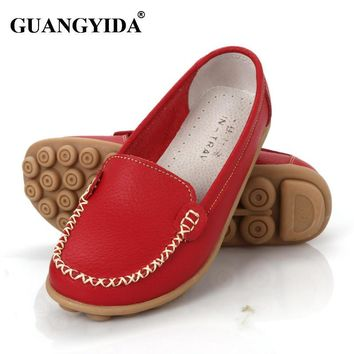 New 2016 Women genuine Leather Shoes Slip-on Ballet women Flats Comfort shoes woman mo