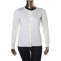 Debbie Morgan Womens Petites Knit Embellished Cardigan Sweater