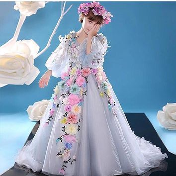 SoAyle 2016 Girls Dress A-Line Kids Prom Dresses Tulle Flowers Long Flower Girl Dresses Vestido De Daminha