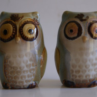 Collectible Ceramic Owl Shaped Grey And Beige Salt And Pepper Shakers Set Unmarked With Original Stoppers