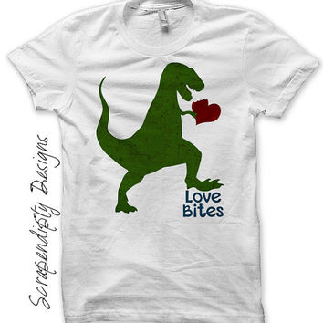 Boys Valentine Iron on Transfer - Iron on Dinosaur Shirt / Loves Bites Funny Shirt / Mens Valentines Day Outfit / Toddler Boys Tee IT484-P