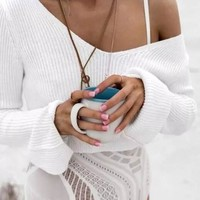 Streetstyle  Casual White Plain Crop V-neck Long Sleeve Fashion Pullover Sweater