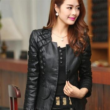 Women's Slim Vegan Leather Jacket