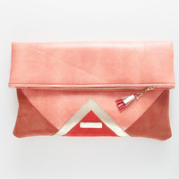 CARRIER 33  / Large leather  fold over daily clutch bag -  Ready to Ship