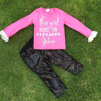 In Stock-This girl runs on cupcakes and Jesus Sequin Pant Set