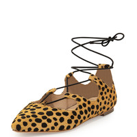 Ambra Calf-Hair Lace-Up Ballerina Flat, Cheetah - Loeffler Randall