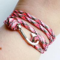 Fish Hook Paracord Bracelet- Adjustable Emergencyn Paracord Bracelet- Light Pink Camo 550 Paracord- Unisex Survival Bracelet
