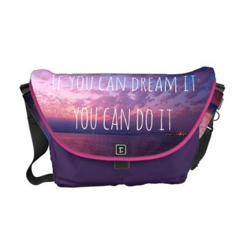 """Dream it"" quote purple sunset photo messenger bag"