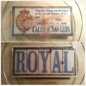 New Orleans Spanish Tile replica 3x6 inch with ribbon hanger, New Orleans Wedding Favors, French Quarter Street tiles, Spanish Tile replicas
