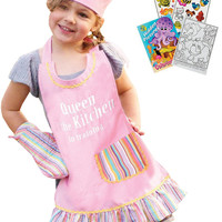 Manual Woodworkers Queen of the Kitchen Apron, Oven Mitt, Chef Hat with Coloring Book