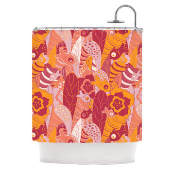 """Akwaflorell """"Fishes Here, Fishes There III"""" Pink Orange Shower Curtain"""