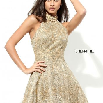 Sherri Hill 50590 Gold Halter Cocktail Dress | RissyRoos.com
