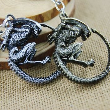 Movie Series Alien Metal Keychain Collection Model Pendant Keychain Keyring For Man's Boys Gift