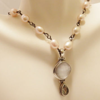 Sterling Silver Fresh Water Pearl Glass Stone Dangle Drop Pendant Necklace