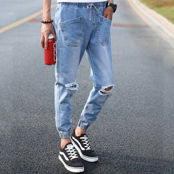 Summer Men Ripped Holes Korean Strong Character Pants Fashion Jeans [6528926403]