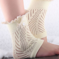 Cream Button Ruffled Crochet Knitted Leg Warmers