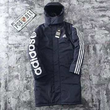 Adidas Autumn And Winter New Fashion Letter Print Hooded Keep Warm Long Sleeve Coat Navy Blue