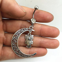 Moon & Owl Belly Button Ring