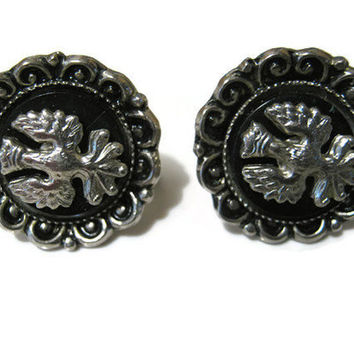Silver Tone and Black Vintage Coro Bird and Crown Screw Back Earrings