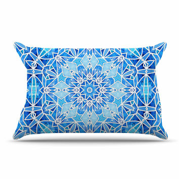 "Art Love Passion ""Star Snowflake"" Blue Aqua Pillow Sham"