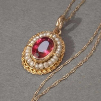 10K Solid Gold Victorian PENDANT Necklace RUBY Paste Seed PEARL Jewelry 10kt Gold Chain c.1900's, Womens Valentines Gift for Her