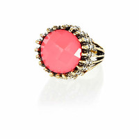 Bright pink statement gem stone ring