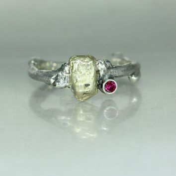 A Ruby Gold Nugget Silver Twig Branch Mans Womans Organic Ring