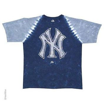 NEW YORK YANKEES NEW  Tie Dye PLEATED  T-Shirt  MLB Licensed Apparel