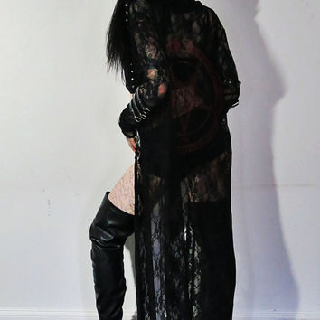 Hell Couture Lace Pentagram Studded Maxi Hoodie