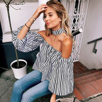 Off Shoulder Blouses 2017 New Fashion Sexy Women Casual Loose Long Sleeve Short Shirts Striped Tops S