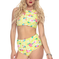 Yellow Fruit Print High Waist Two Piece Swimsuit