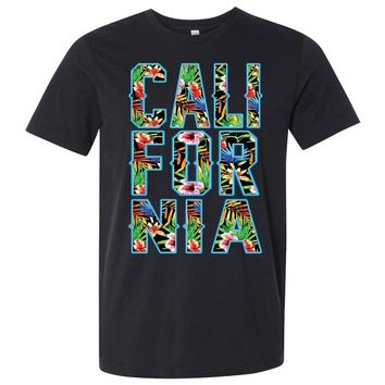 Tropical California Floral Print Asst Colors Mens Lightweight Fitted T-Shirt/tee