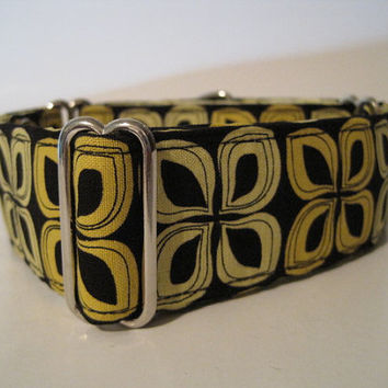 2 inch Yellow and Black Martingale Collar, Yellow, Black, Geometric, Greyhound Collar, Dog Collar, Greyhound Martingale, Custom Dog Collar