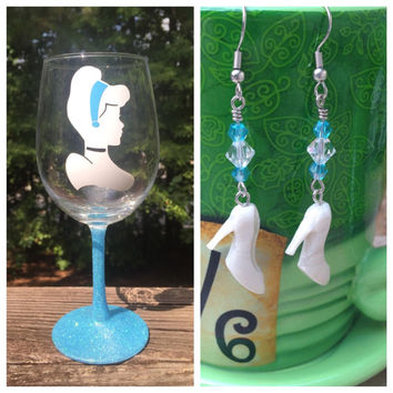 Gift Bundle Cinderella Wine Glass and Earrings vinyl