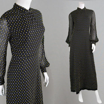 Vintage 70s Black Maxi Dress High Neck Long Black Dress Sheer Sleeves Polka Dot Dress Evening Dress Disco Dress Satin Trim 1970s Dress Boho