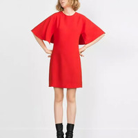 Flare Sleeve Straight Mini Dress