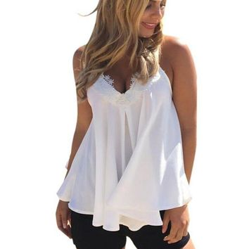 Womens Blouses Chiffon Sleeveless Lace Shirts Plus Size Casual Tank Tops