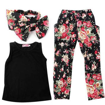 Summer Baby Clothing Sets For Girls Sleeveless Clothes Shirt + Floral Pants + Headband 3PCS Girl Outfits