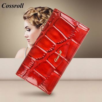 COSSROLL Women's wallet Genuine Leather Business Card holder Ladies Purses Billeteras Mujer Hasp Wallets Woman Carteira Masculin