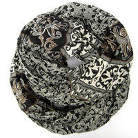 Crinkled Infinity Scarf Women's Lightweight Eternity Circle Scarf Black Brown Grey Ivory Womens Teen Double Loop Scarf
