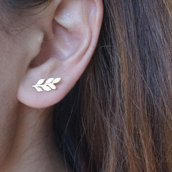Leaf Earrings in Silver or Gold Laurel Leaf Mini Dainty Little Simple Stud Earrings Bridesmaids Gift Idea