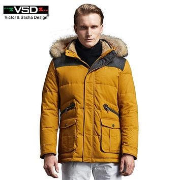 VSD Winter Jacket 2017 New Brand Clothing 90% White Duck Down Men's Jacket Thick Warm Hooded Coat Collar Parkas Hot Sale TC8869