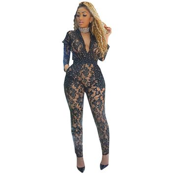 Black Lace Bodycon Jumpsuits Women Sexy Transparent Mesh Bodysuits Long Sleeve Front Zipper Sequin Jumpsuit Club Romper Overalls
