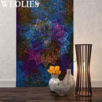 Wall Hanging Indian Ethnic Tapestry 210X145cm Polyester Mandala Bedspread Throw Blanket Dorm Mat Bedroom Decorative Textiles