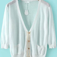 White V Neck Pockets Half Sleeve Knit Cardigan