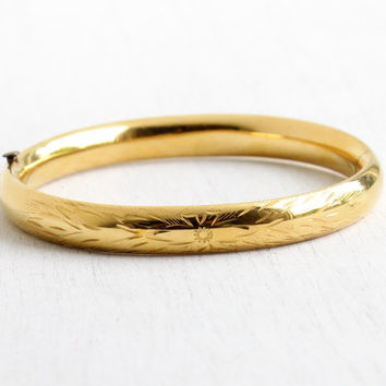 Vintage Yellow 12k Gold Filled Hinged Bangle Bracelet R