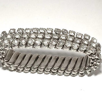 Vintage Clear Rhinestone Expansion Bracelet,SilverTone Flexible Stretch Bracelet,Made in Japan,Dressy Bracelet,Bride Jewelry,Wrist Bling,