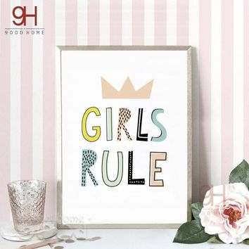 Cartoon Girls Rule Quote Canvas Art Print Poster,  Wall Pictures for Girl Room Decoration, Giclee Wall Decor FA184-2