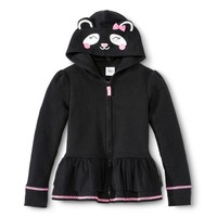 Infant Toddler Girls' Zip Up Peplum Cat Hoodie